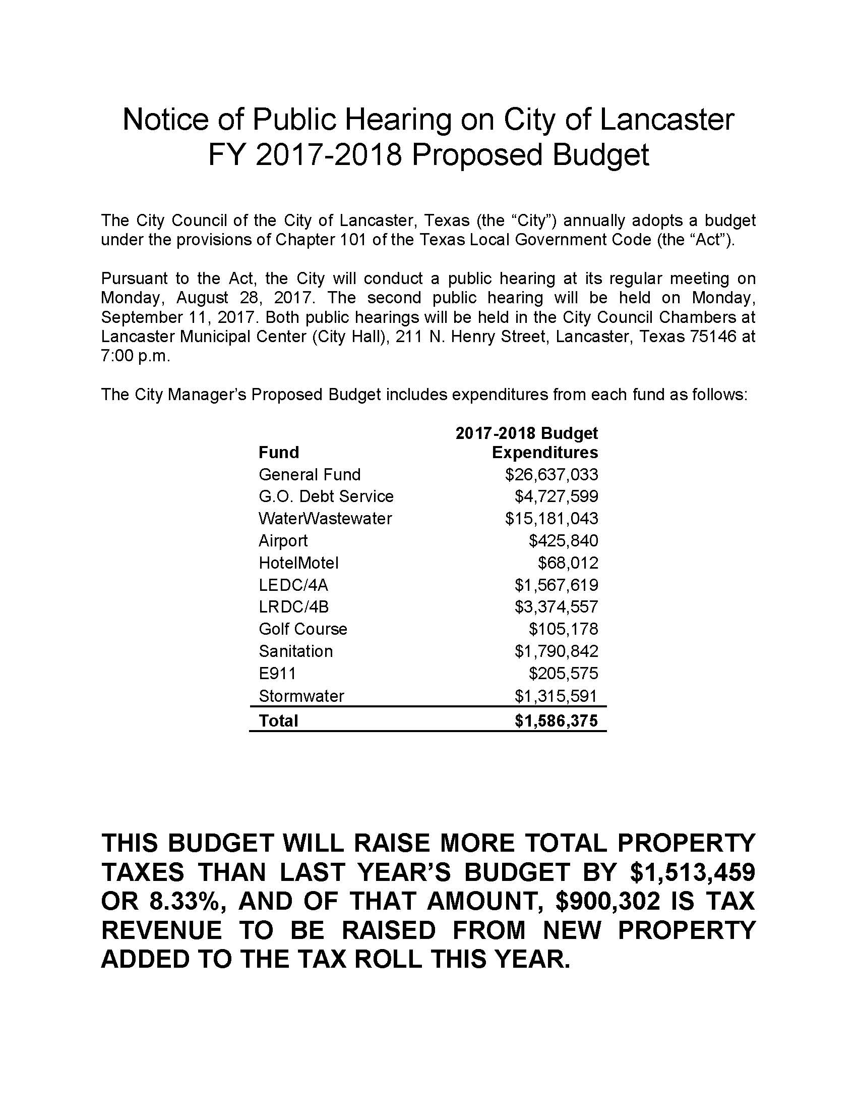 2017-2018 Notice of Proposed Budget