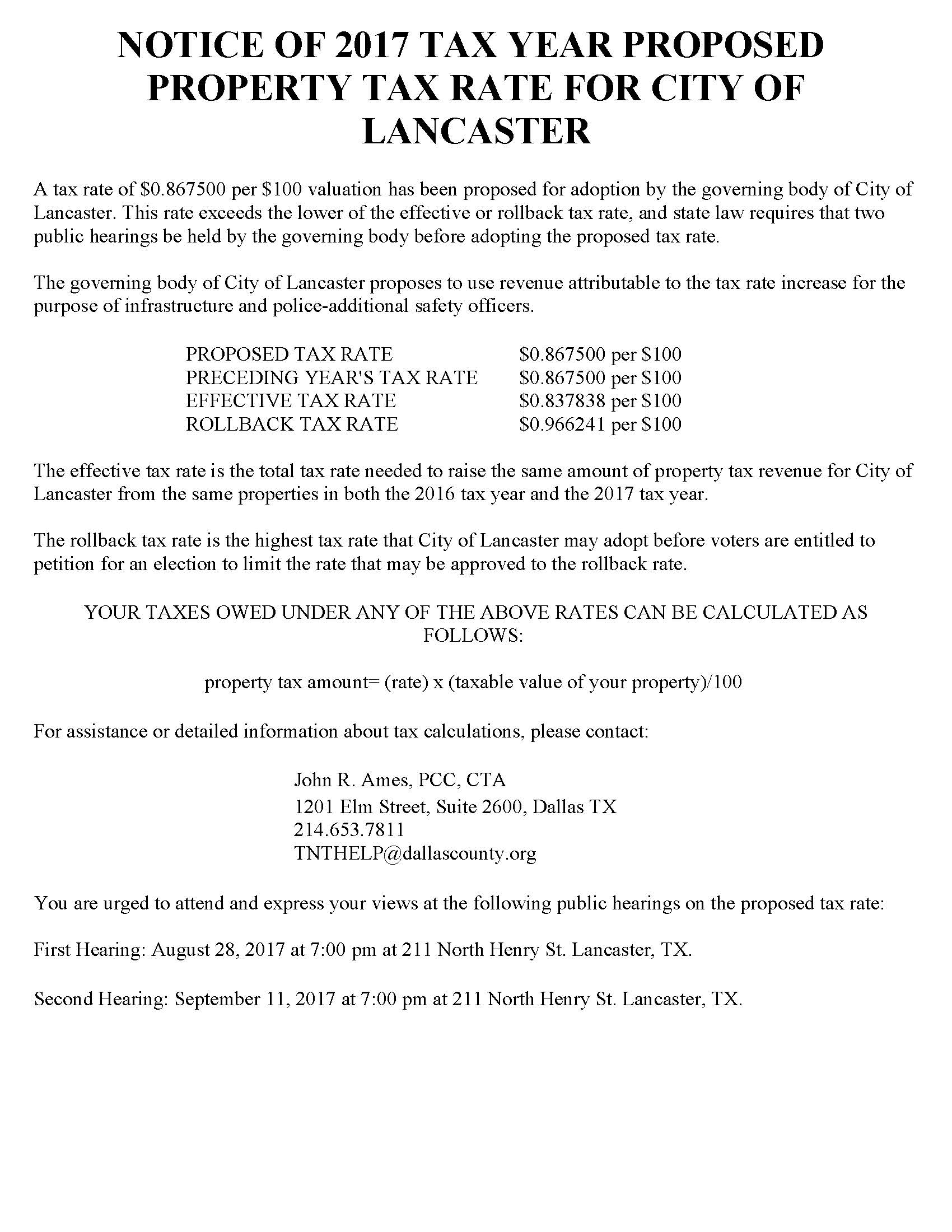 City of Lancaster 2017 Notice of Tax Rate