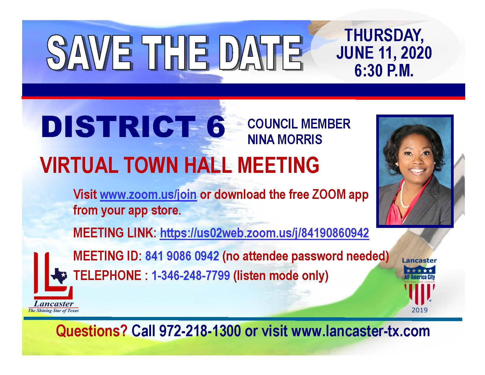 District 6 Town Hall Postcard
