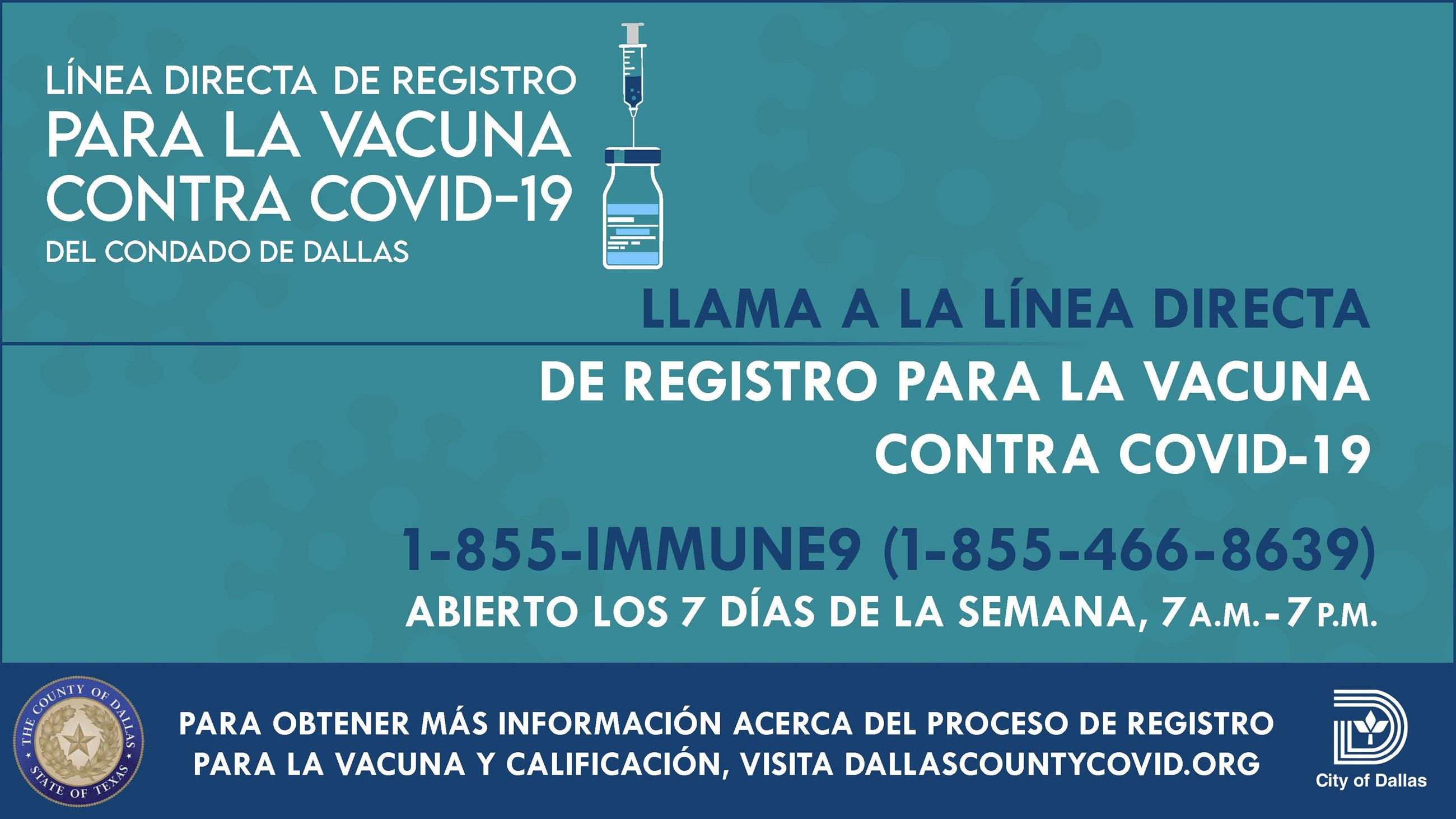Dallas County COVID-19 Vaccine Registration Hotline: Spanish