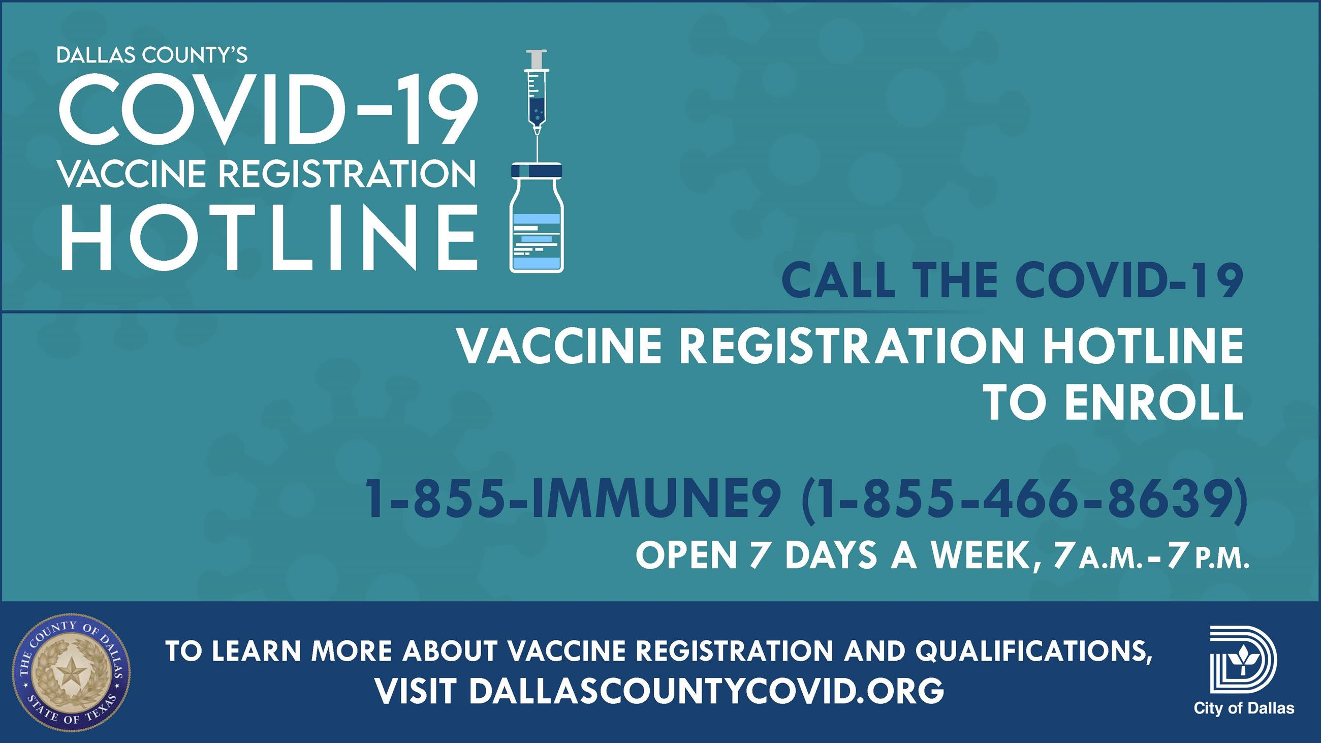 Dallas County COVID-19 Vaccine Registration Hotline: English