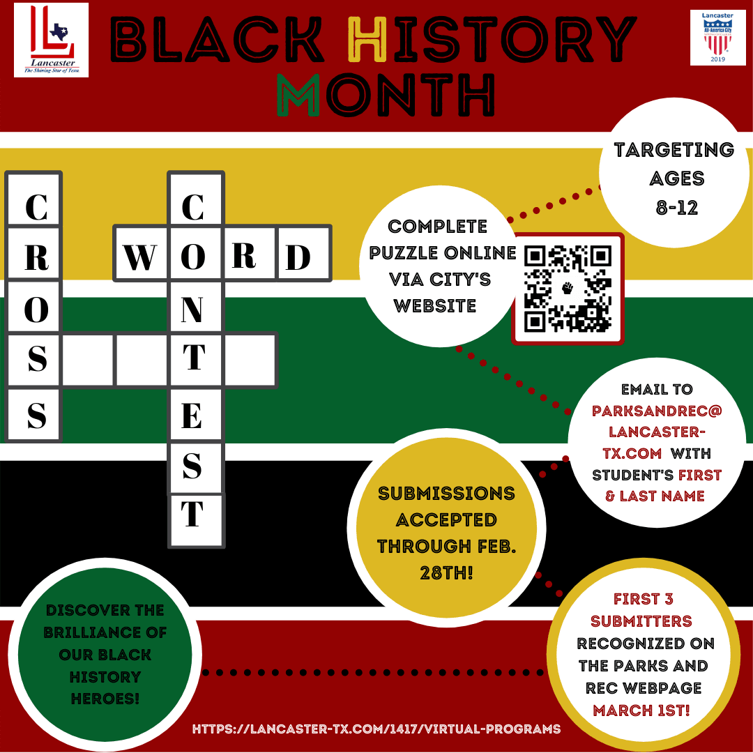 Updated Black History Month Crossword Puzzle Contest Update
